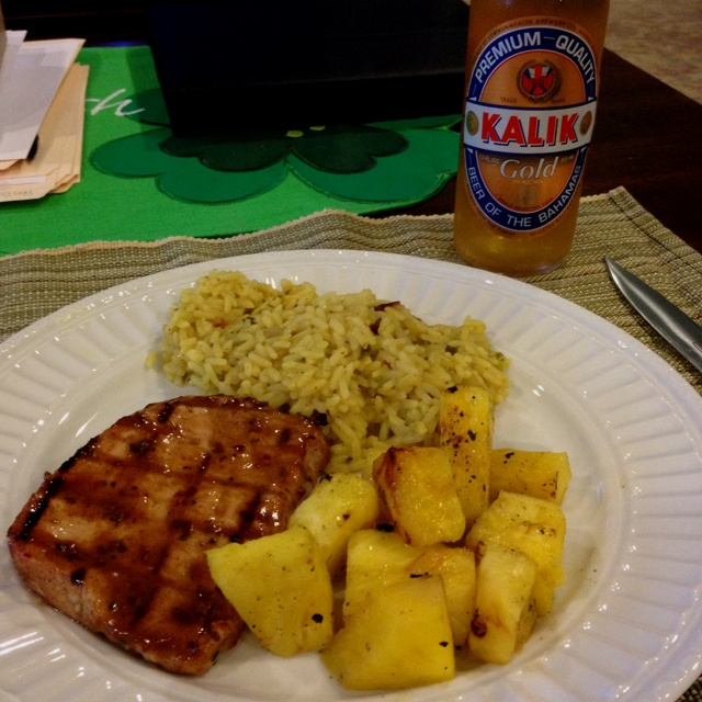 Caribbean night, jerk pork chops, grilled pineapple, Caribbean rice ...