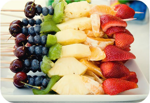 Rainbow fruit skewers - grapes, blueberries, kiwi, pineapple, cantaloupe, strawberries