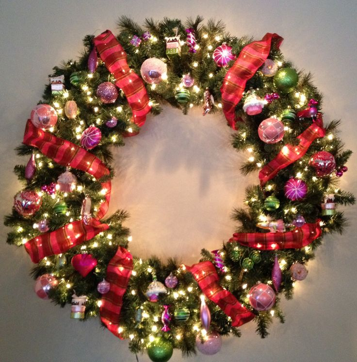 "Pink and green 60"" wreath 