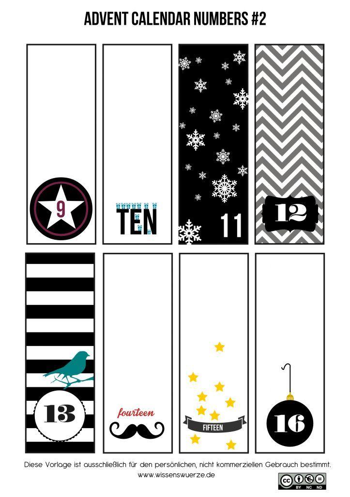 Printable black and white advent numbers   love: chrimbo   Pinterest