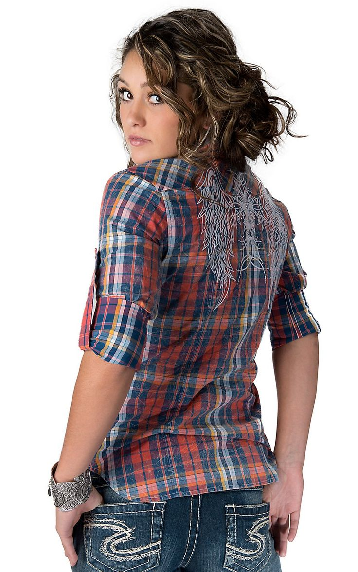 Rock & Roll Cowgirl® Women's Crinkle Washed Red, Blue and Yellow Plaid with Embroidery Long Sleeve Western Shirt