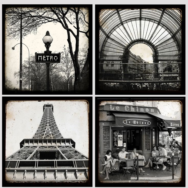 Paris black and white small collection 5 x 5 inches for Art decoration france