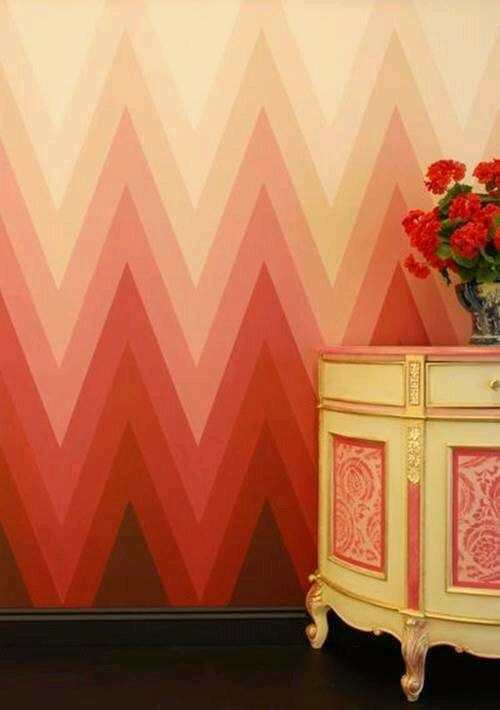 Chevron ombre wall painting Decorative painting Pinterest