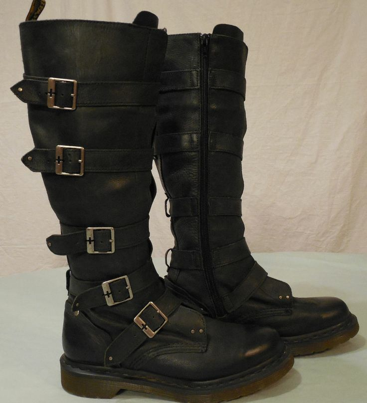 dr martens phina black leather knee high buckle boots