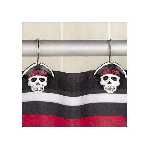 Pirate skull and crossbones shower curtain hooks rings bathroom decor