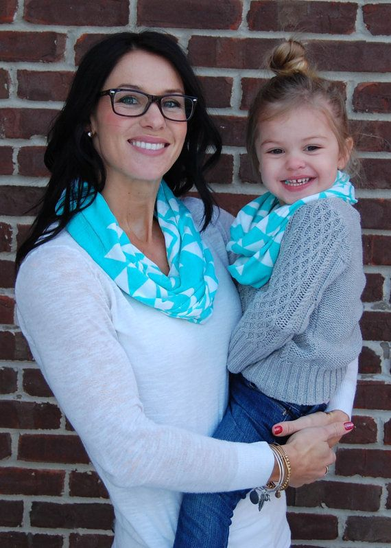 Aqua Aztec MotherDaughter Infinity Scarf Set Mother Mother Mother And Daughter Scarf Sets