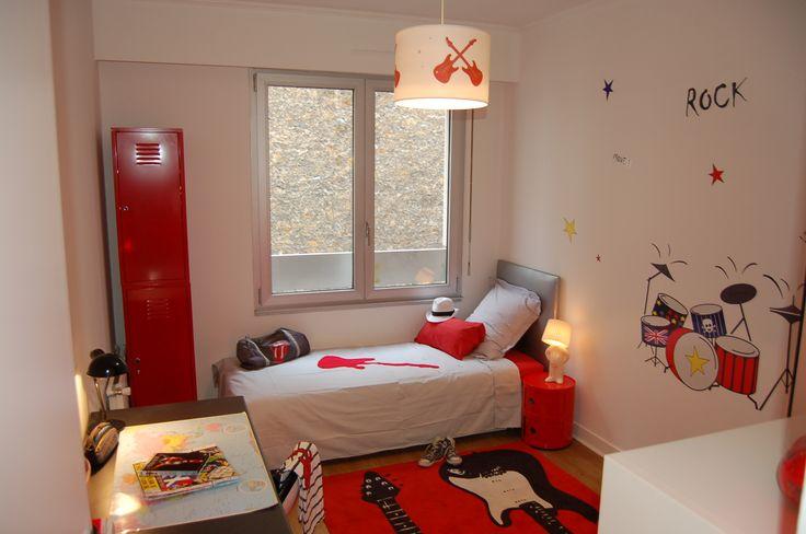 chambre rouge, chambre ado, chambre Nanelle, chambre rock