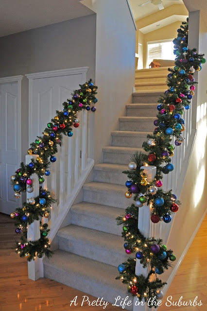 Ornament garland for the stairs navidad pinterest for Hanging garland on staircase