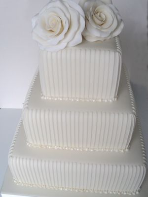 Iced Wedding Cake With Pin Stripe Piping Sugar Roses Fifties Chic