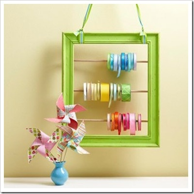 Ribbon storage on a upcycled frame