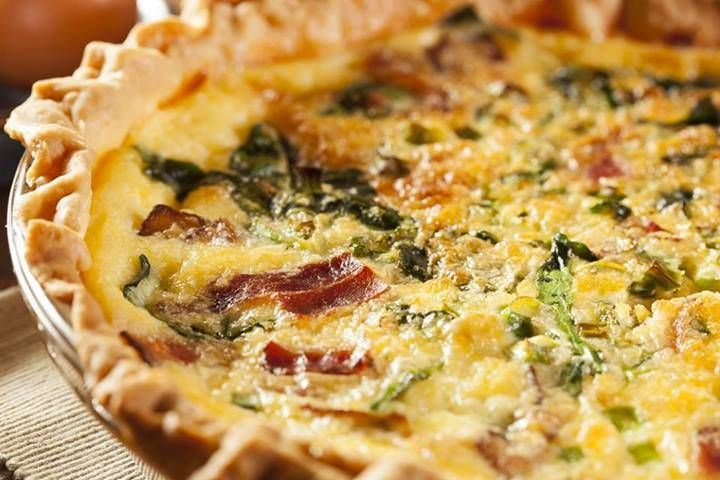 Home Made Bacon Spinach Quiche, altered with red pepper, pepper, 1 cup ...