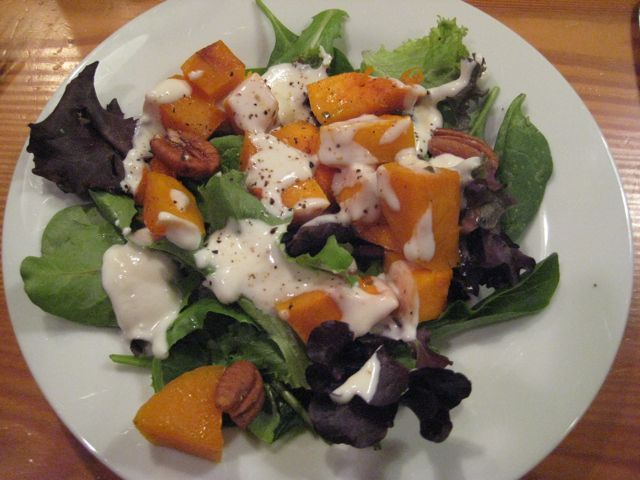 Roasted Butternut Squash Salad with Honey Goat Cheese Dressing