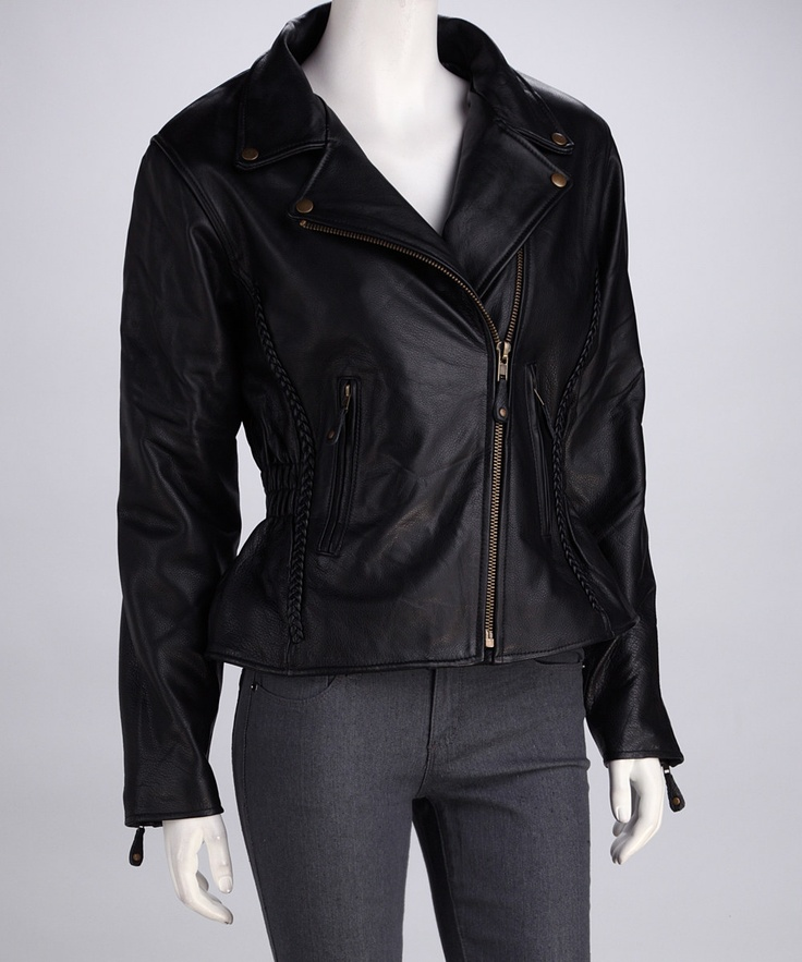 Authentic Leatherwear Black & Gold Leather Jacket - Women & P