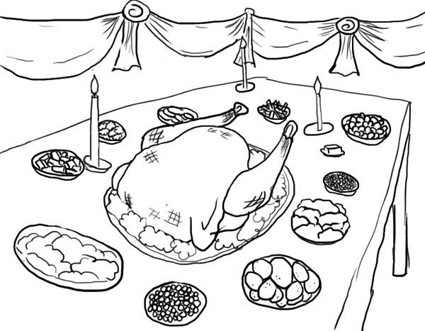 Thanksgiving Dinner Coloring Pages Page All Colored Up