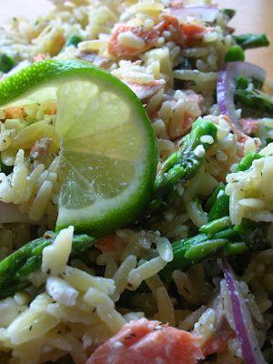 Salmon, Asparagus and Orzo Salad with Lemon-Dill Vinaigrette