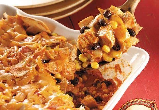 Chicken, Black Bean and Corn Enchilada Casserole | Recipe