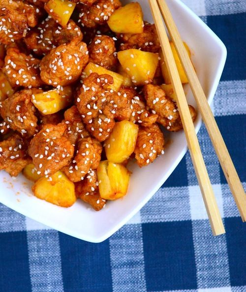 Sweet and Sour Chicken- Good! I used one egg white, pan sautéed only ...