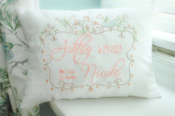 Embroidered Baby Gift Ideas : Personalized baby pillow embroidered decorative