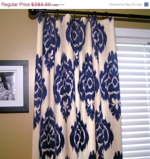 Solid Brass Curtain Pole Kalah Blue Ikat Curtains