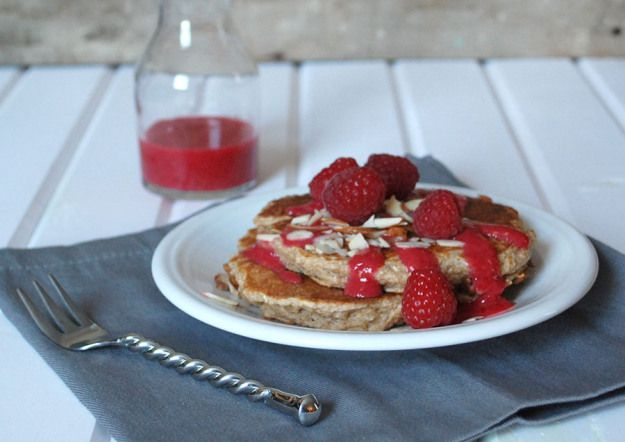 Cinnamon Protein Pancakes with Maple Raspberry Puree | The Pomegranate ...