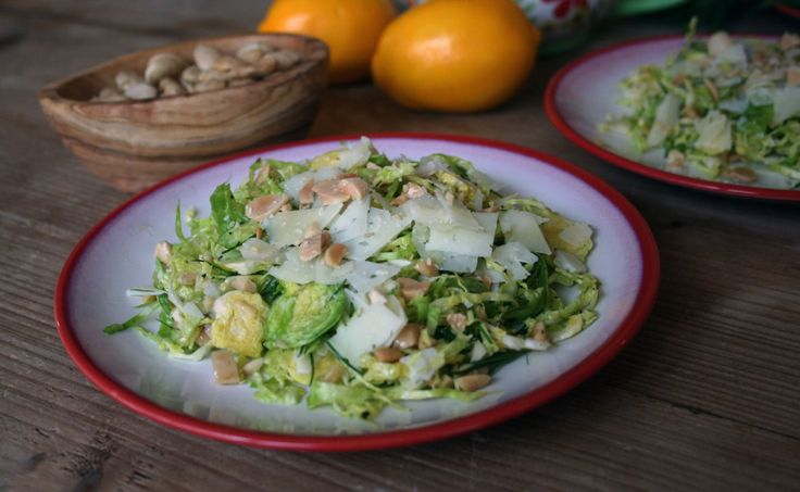 Shaved Brussels Sprouts Salad with Manchego and Marcona Almonds