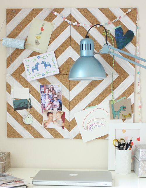 painted cork-tile pinboard