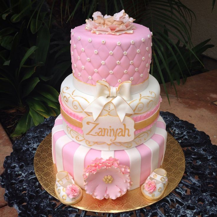 pink and gold baby shower cake cakes pinterest