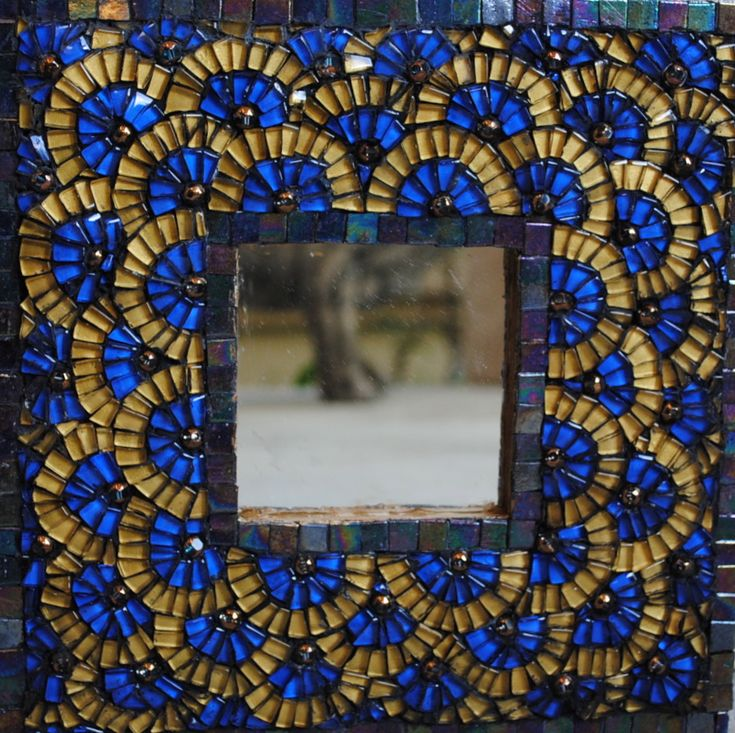 Blue and gold mosaic mirror texture colors pinterest for Mosaic mirror