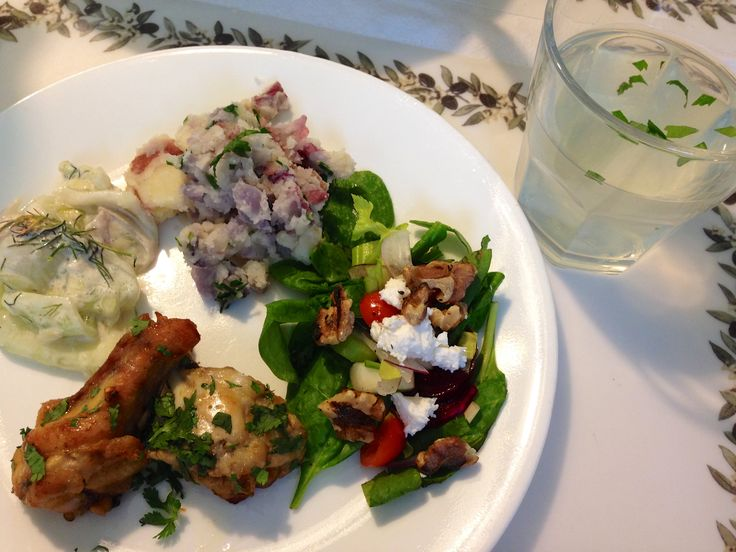 , dill/sour cream cucumber salad, Camella's spinach salad with feta ...