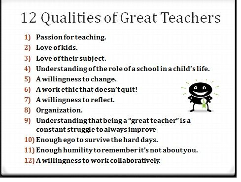 essay about qualities of a good teachers Qualities of a good teacher - top 10 important characteristics 1 teaching should be interactive when lessons are long, students often does not pay sure, not every good teacher has all of these qualities, but you should acknowledge that excellent teachers serve as role models, influence career.