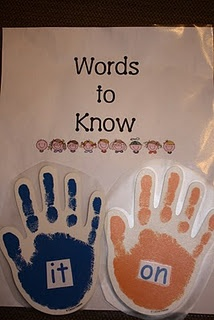 """Hang the sight word of the week on the door and students """"high five"""" the word and say it as they leave the room. ... maybe do the letter of the week instead for my room :)"""