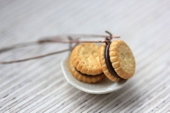 Sandwich Cookie Earrings - Chocolate Cream Biscuit - Cookie Collection
