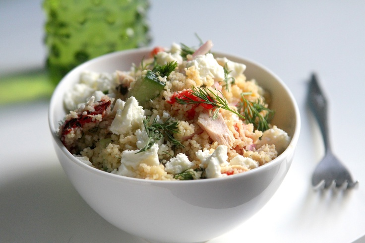 Tuna Salad with Cucumber, Feta, Dill, and Roasted Peppers with Lemon ...