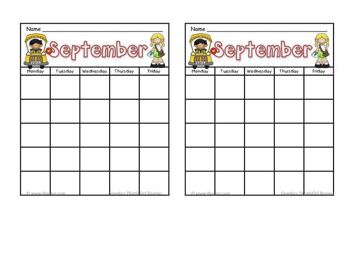September School Monthly Calendars Charts Pinterest
