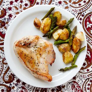 Roasted Chicken, New Potatoes and Asparagus ... one-pan dish, all ...