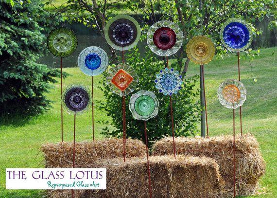 Recycled glass flower garden art junkin pinterest - Recycled glass garden art ...