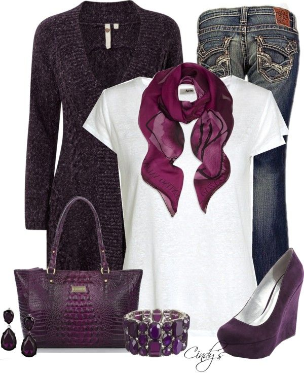 Warm cardigan,Jeans,purple scarf,handbag,shoes and white tee