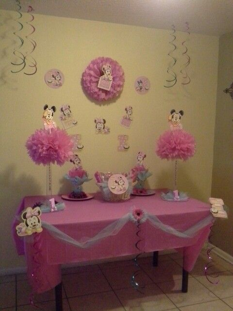 Baby minnie mouse decorations centerpieces more for Baby minnie mouse decoration ideas