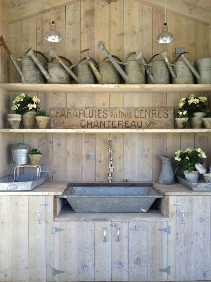 velvet and linen potting bench inside the chicken coop