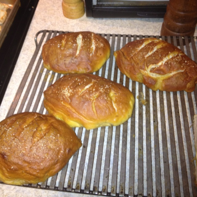 Homemade pretzel bread stuffed with pepper jack cheese.