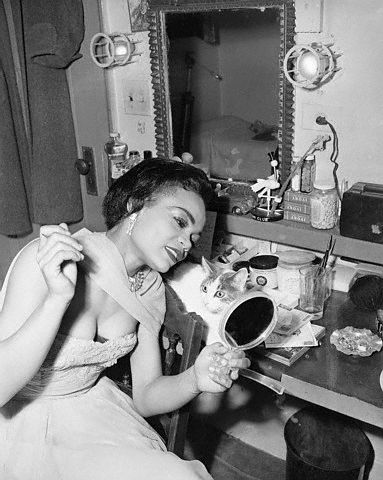 Eartha Kitt in her dressing room in 1952.