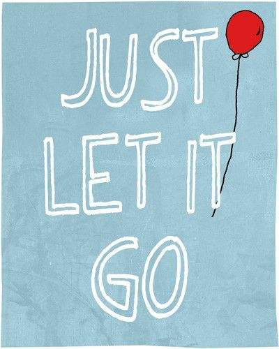 Positive quote wall art print Just let it go (blue background)