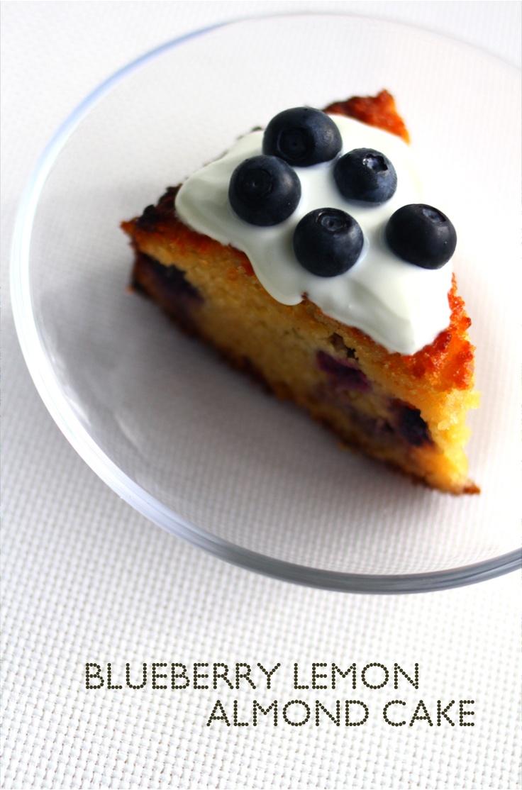 Blueberry honey lemon almond cake - butterless, flourless, sugarless!