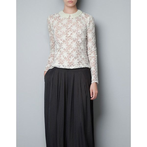 Zara Embroidered Tulle Blouse With Pearls Around Collar 102
