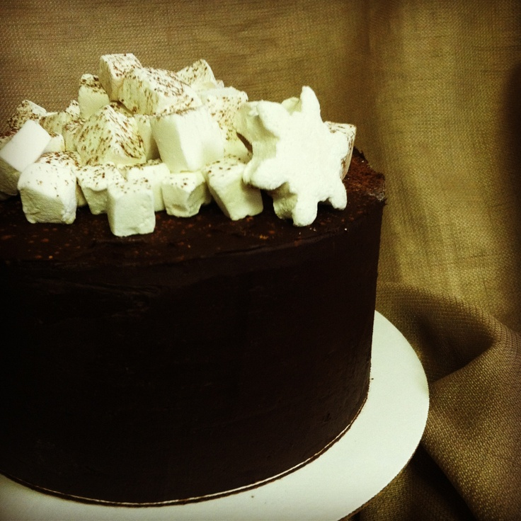 Hot Chocolate Layer Cake With Homemade Marshmallows Recipe ...