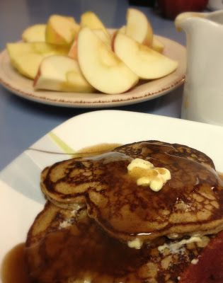KitchenJoy: Whole Wheat Apple Cinnamon Pancakes {with Cinnamon Syrup}