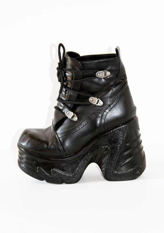 90s black mega chunky platform shoes boots
