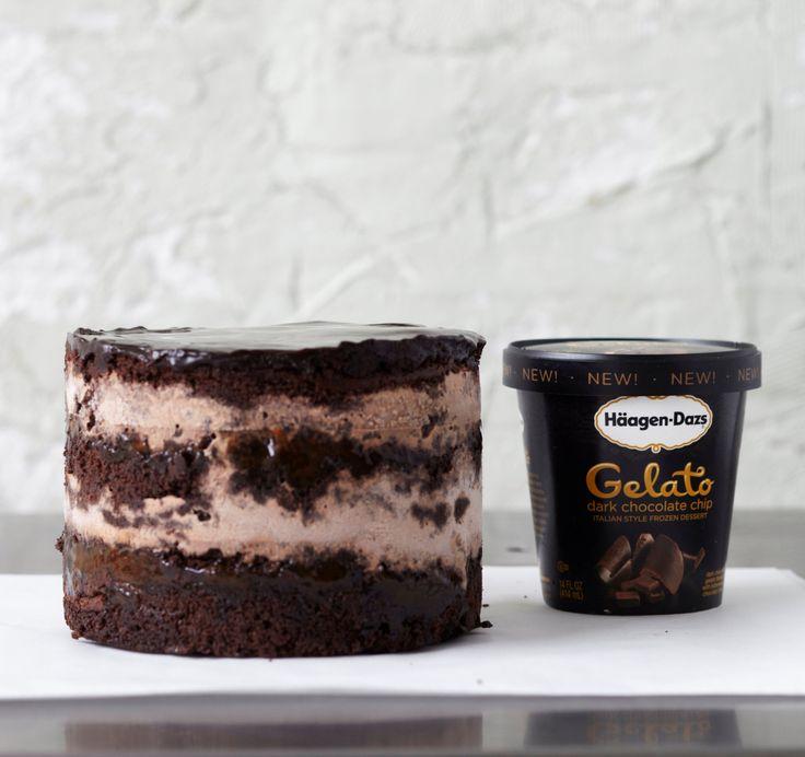 Häagen-Dazs® Dark Chocolate Chip Gelato Cake with apricot jam ...