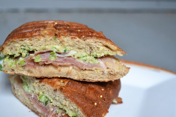 Pea and Goat Cheese Pesto and Prosciutto Panini