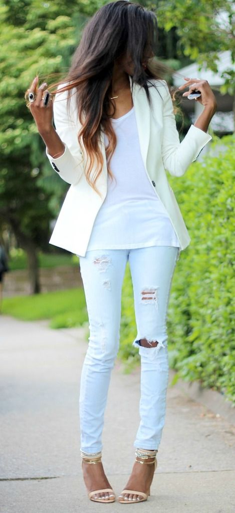 White blazer + distressed denim.